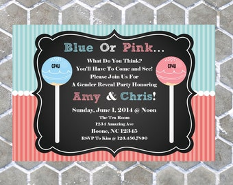 Boy Or Girl Gender Reveal Cake Pop Party Invitations