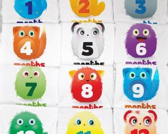 Furry Creature Monthly Baby Onesie Set, 12 Month Set