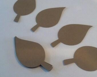 50 Kraft Paper Fall-Apple Leaves Die Cuts 2 inches