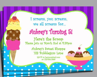 Ice Cream Invitation Printable or Printed with FREE SHIPPING - Ice Cream Purple Brights Collection