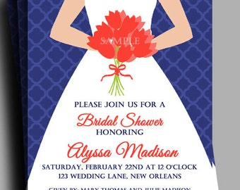 Bridal Gown Invitation Printable or Printed with FREE SHIPPING - Navy and Coral - Bridal, Luncheon, or Brunch - You Pick Skin Tone
