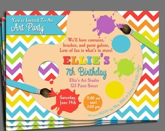 Painting Art Party Birthday Invitation Printable or Printed with FREE SHIPPING - Rainbow Paint Collection