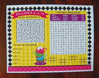 Personalized Tea Party Game Placemat Printable - Tea Cup Fun