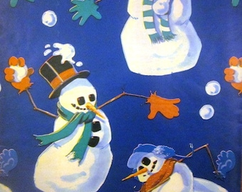 Vintage Wrapping Paper - Christmas Gift Wrap - Snowman Snowball Fight - One Sheet