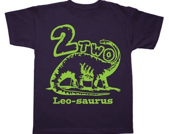 Birthday Brontosaurus Dinosaur Shirt - any age and name - pick your colors!