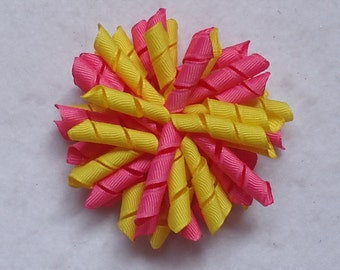 Korker Hair Bow, Yellow and Pink  Korker, Spring/Summer Hair Bow, Corker Bow Perfect for Pigtails, Spring Korker Bow, Korker Bow