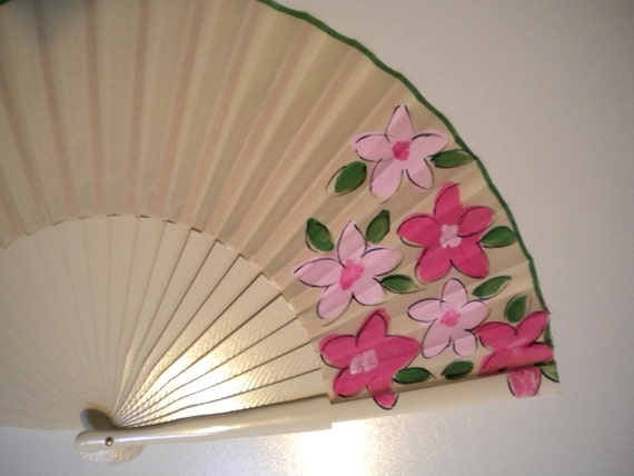 Pink Floral Design on Cream SIZE OPTIONS Folding Wooden Hand Held Fan by Kate Dengra Spain