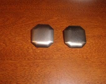 vintage clip on earrings brushed silver metal