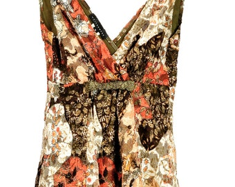 90s floral metallic lace BABYDOLL top