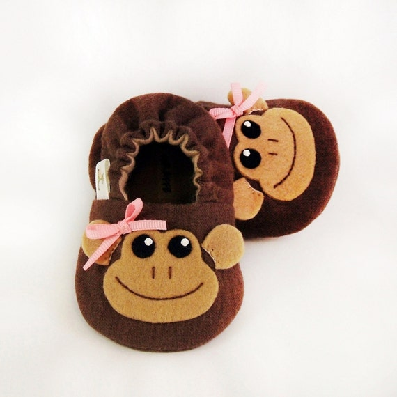 Monkey Girl Baby Booties - Newborn, Infant, Baby Slippers, Crib Shoes, Footwear, 0 - 18 Months