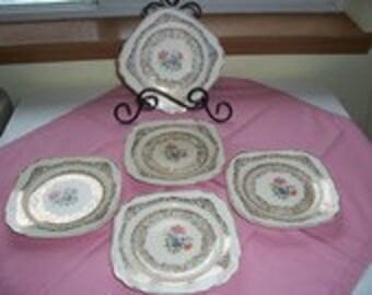 Queen Anne Dessert Plates with 22K  Filigree Trim- 5 pcs.