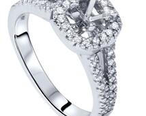 1/2CT Diamond Semi Mount Engagement Ring Setting 14K White Gold Cushion Halo Mounting