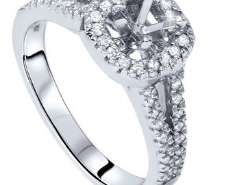 1/2CT Diamond Semi Mount Engagement Ring Setting 14K White Gold Cushion Halo Mounting