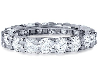 3.50CT U Shape Diamond Eternity Ring 14K White Gold Size 4-9