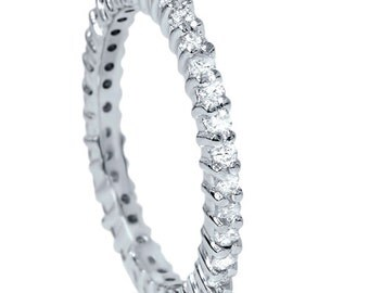 3/4CT Diamond Eternity Ring Stackable Band Wedding Anniversary Common Prong Style 14K White Gold Size 4-9