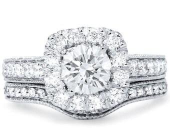 Diamond 1.70CT Cushoin Vintage Halo Engagement Ring Set 14K White Gold