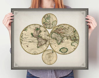 Antique World Map, Home, Kitchen, Nursery, Bath, Dorm, Office Decor, Wedding Gift, Housewarming Gift, Unique Holiday Gift, Wall Poster