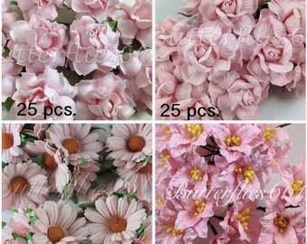 100 flowers SET 1  Handmade Mulberry Paper Flowers Pale Sweet Pink Wedding Roses