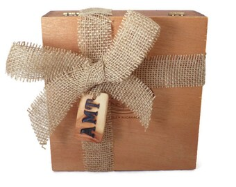 Add On For A Gift / Custom Redwood Wood Burned Monogram Tag & Burlap Wrap