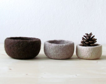Felt bowl / ombre brown / eco-friendly storage / ring holder / fall home decor