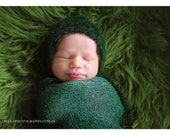 Romantic vintage ethearal lacy moss green crochet newborn round back bonnet baby girl boy hat photography prop - made to order
