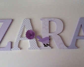 Wooden letters for nursery in lavender child's name letters initial monogram