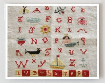 Mermaid Sampler : Birds of a Feather cross stitch patterns nautical beach ocean counted hand embroidery The Cottage Needle