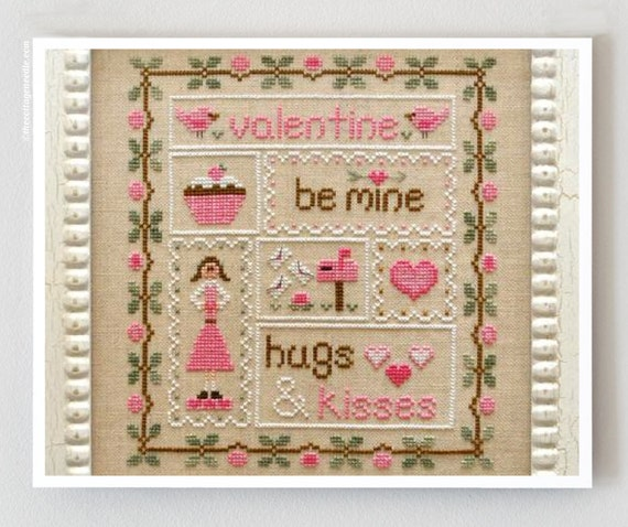 LAST ONE cross stitch patterns : Be My Valentine Country Cottage Needleworks Valentine's Day counted hand embroidery