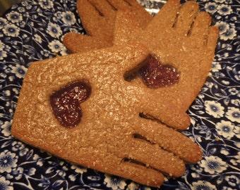 Friendship Heart 'n Hand Gingerbread Cookies-1 dozen- Ginger Hand Cookies with Jam Heart
