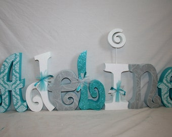 Custom wood letters, Nursery letters, 15.00 per letter, Turquoise damask decor, Teen decor, Personalized letters, Name letters, Wood name