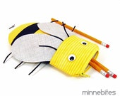 Honey Bee Pencil Case by MinneBites / Handmade School Kit - Cute Kids Purse - Bee Party Favor - Sunglass Bag - Pencil Pouch - Ready to Ship