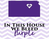 "Kansas State University saying ' In This House We Bleed Purple"" with a chevron background"