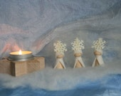 three gnomen snowflakes  for your nature table / winter