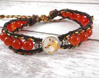 Fox Bracelet - Fox Jewelry, Bead Wrap Bracelet , Mix Bead Bracelet, Agate Bead Bracelet