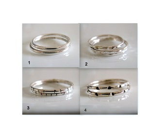 Bridesmaids Jewelry. Sterling Silver Organic Bands. Set of Seven Eco Friendly Stacking Rings