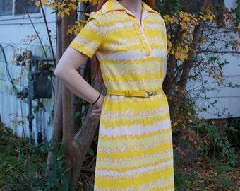 Yellow,Orange, White belted shift dress 50s