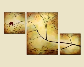 Canvas Painting, Birds in Tree Branch Painting, 42 x 24, Large Art