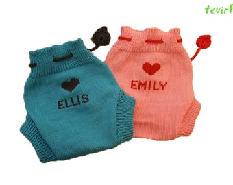 Soaker - S, M, L - PERSONALIZED 100% merino wool cloth diaper nappy cover briefs (with your baby name) hand made knit knitted