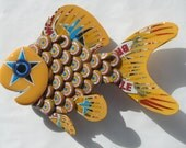 Goldfish Art Metal Bottle Cap Fish Wall Art Newcastle Brown Ale Bottlecaps