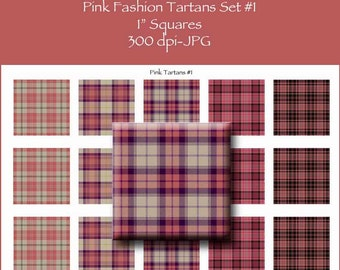 Pink Fashion Tartans Batch One 1 Inch Square Tile Images INSTANT Download