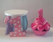 First Birthday Fake Cupcake and Stand, Polka Dot Number One Candle, Balloon, Party Hat, Photo Prop, Centerpiece