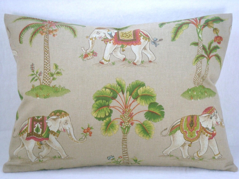 Decorative Linen Lumbar Pillow Elephant Pillow Accent Pillow