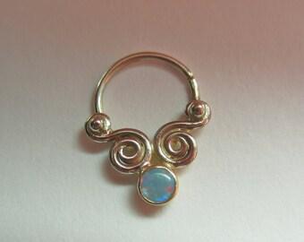 Pivot Gem w/ 3mm stone : Gold Nose Ring .. Septum Jewelry .. 14k gold / 18k gold nose hoop .. Opal Nose Jewelry .. Aprilsblissed ..Nosebling