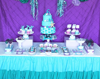 Ariel little Mermaid Birthday Party, PRINTABLE, Package, deluxe, mermaid invitation, banner, cupcake toppers,  purple teal DIY Personalized