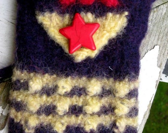 Little Cell phone Bag in Dark Blue, Red and Yellow with Red Star