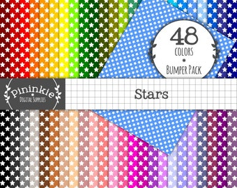 Letter Size Digital Paper, Stars Digital Scrapbook Papers 8.5 x 11, Digital Background, INSTANT Download, Commercial Use, Print