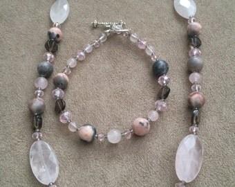 Sale Rose Quartz and Smokey Quartz Jewelry Set