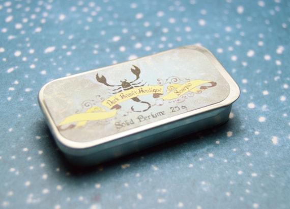 Solid Perfume - Scorpio - Astrological Perfume Crème Tin - Amber, Blackberry, Egyptian Musk, Chocolate