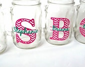 Chevron monogram glass.  1 Mason jar for wedding party gift.   Monogram and name included.  pink and green. Christmas gift