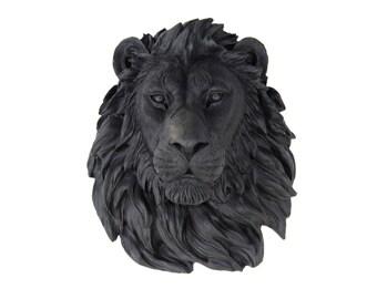 FAUX TAXIDERMY- Lion Head  - Black Lion Wall Mount L17